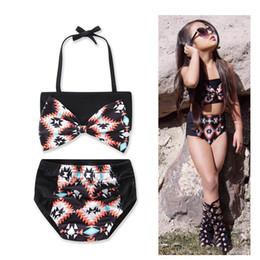 Small bikini StyleS online shopping - Cotton Girl Bikini Hit Color Match Split Swimwear Style Small Fresh Korean Version of the fashion cool New Black geometric printing