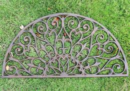 $enCountryForm.capitalKeyWord Australia - Cast Iron Doormat Half Round Door Mat Antique Decorative Metal Mat Brown Vintage Home Garden Yard Patio Grassland Ornament Crafts Gardening