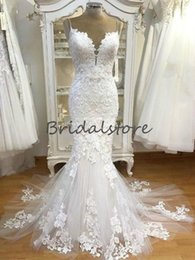 cheap t back wedding dresses 2019 - Real Image mermaid bohemian wedding dresses spaghetti straps lace appliques western country modest wedding dresses cheap