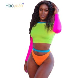 $enCountryForm.capitalKeyWord NZ - Haoyuan Neon Green Sexy Two Piece Set Summer Beach Culb Outfits Crop Tops+shorts Sets Plus Size Women 2 Piece Matching Suits J190616
