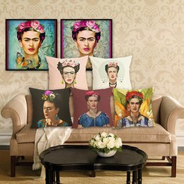 Red Office Chairs Australia - 45cm Frida Kahlo Cotton Linen Fabric Throw Pillow case 18inch Fashion Hotel Office Bedroom Decor Sofa Chair Cushion cover