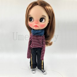 24 doll Canada - 1PCS 1 6 Blyth Doll Stripe Long-sleeved Shirts, Wide Leg Pants, Scarf Clothes For Azones Obitsu 24 Doll Accessories