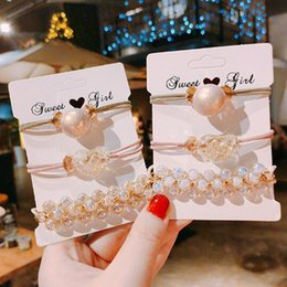 $enCountryForm.capitalKeyWord Australia - 3pcs set Fashion Women Girl Crystal Pearl Hair Ring Hair Rope lastic Rubber Ponytail Tail Holder Hairband Accessories