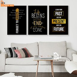 wall decor black art canvas Australia - Motivational Inspiring Quotes Wall Art Canvas Painting Nordic Posters And Prints Black White Wall Pictures For Living Room Decor