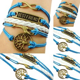 Wholesale Fashion New Alloy Rope Fawn Tree of Life Best Friend Lettering Bracelet for Women Men New Alloy Rope Bracelet