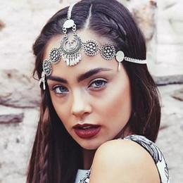 Hair accessory foreHead online shopping - Boho Vintage Ethnic Headband Hair Accessory Flower Tassel Coin Charm Head Chain Forehead Wedding Hair Accessories Jewelry for Women