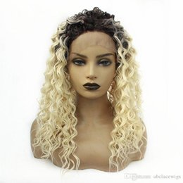 dark blonde cosplay wigs Canada - Lace Front Loose Wave Dark Roots Ombre Blonde Color Wig Natural Soft Fiber Hair Fashion Cosplay Wigs For Women