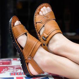 Brand Casual Sandals Australia - Men Sandals Genuine Split Leather Men Beach Sandals Brand Casual Shoes Flip Flops Slippers Sneakers Summer Shoes Apr22