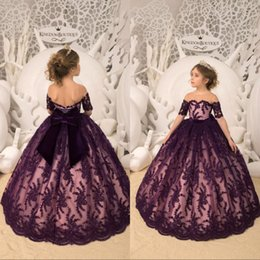 T shirT dress for Toddler online shopping - Dark Purple Flower Girl Dresses Short Sleeve Lace Sequins With Big Bow Girls Pageant Gowns Toddlers First Communion Gowns For Wedding Party