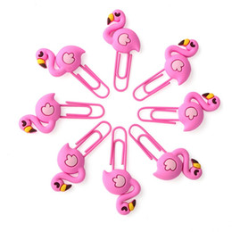 cute paper clips Australia - 8PCS set Cute Flamingos Paper Clips Novelty Animals Bookmark Photos Clips Page Marker Big Paperclips for Office School Supplies