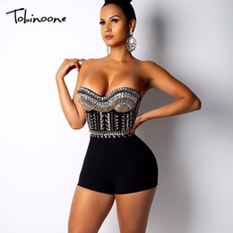 Women Satin Jumpsuit Australia - Tobinoone Party Rompers Womens Jumpsuit Strapless Short Playsuit Sexy Sequin Bodycon Jumpsuits For Women Q190516