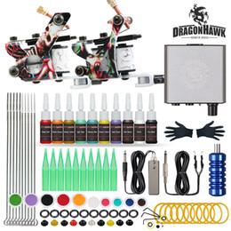 Wholesale Dragonhawk Beginner Tattoo Kit 2 Machines Inks Mini Power Supply Set D175GD-17
