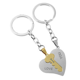 stainless steel keyrings wholesale NZ - I Love You Heart Keychain Keyring Couple Stainless Steel Key Heart Key chain Set Valentine Day Love Gift