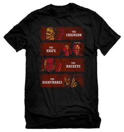 $enCountryForm.capitalKeyWord NZ - Mens Halloween Black T-Shirt Fear Them Chainsaw, Knife, Machete, The Nightmare Cool Casual pride t shirt men Unisex