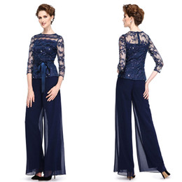 $enCountryForm.capitalKeyWord Australia - Navy Blue Mother of the Bride Dresses Pant Suits For Wedding Lace Plus Size 3 4 Long Sleeve Formal Garment Outfit Evening Wear