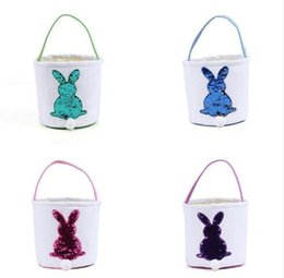 Candy Decoration Buckets NZ - Sequin rabbit Easter Basket Canvas bag Eggs Candy and Gifts Carry Bucket Daily Storage Festival Decoration FFA1696