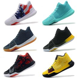 782a5dac2d3 New Men Kyrie 3s Outdoor shoes Cheap Black White Team Red Grey Green Yellow  Floral Blue Gold USA BHM Oreo sneakers tennis