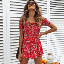 Wholesale lace womens jumpsuits chiffon for sale – dress Summer Rompers Womens Jumpsuit Boho Beach Red Floral Playsuit Shorts Lace Up Short Sleeve Off Shoulder Chiffon Romper Women Y19071801