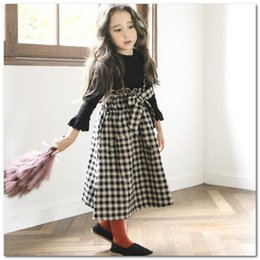 skirts suspenders Australia - Classic Big Girls plaid suspender skirt kids lace-up Bows princess dress children ruffle high waist cotton lattick skirt fit 3-12T J0197