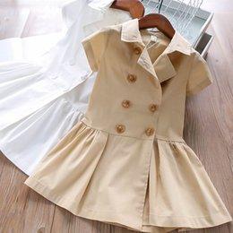 Cotton Wholesalers Australia - Fashion girls dresses 2019 new Summer cotton Kids Dresses shirt Casual girl dress kids designer clothes girls clothes kids clothing A4993