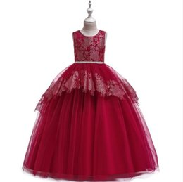 $enCountryForm.capitalKeyWord UK - 2019 New Girls Wedding Dresses Sleeveless Pink Bead Appliques Lace Party Princess Birthday Dress First Communion Gown Flower Girl Gown