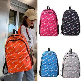 China Canvas prints online shopping - Luxury Shoulder bag Champion Print Men Women Designer Backpack Canvas Large Capacity Travel Students Outdoor School Bag cm B71304