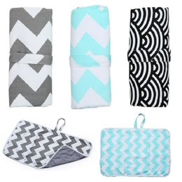 Wholesale Baby cotton wave print Changing Pads Foldable Nappy Diaper Changing Mat Travel changing Station waterproof Mummy bag C5869