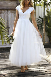 short white wedding dresses red sashes Australia - Short A Line Cap Sleeve Ankle Length Tulle White Deep V Neck Simple Lace Top Selling Sash Wedding Dress Modern Bridal Gowns Draped
