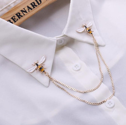 bee collar pin 2021 - Cute Bee Vintage Brooches Pins Animal Alloy Metal Chain Brooch Broches Man Suit Shirt Collar Tassel Lapel Pin Women Jewe