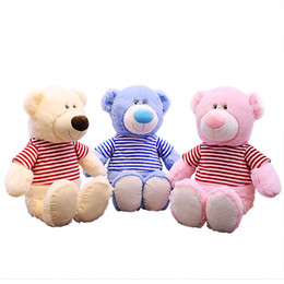 Clothes For Plush Toys Australia - 60cm Big Soft Teddy Bear With Clothing Pink Blue Brown High Quality Stuffed Plush Animals Gift for Kids