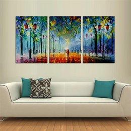 Leonid Afremov Canvas Prints Australia - Leonid Afremov : Dawn Street,3 Pieces Home Decor HD Printed Modern Art Painting on Canvas (Unframed Framed)