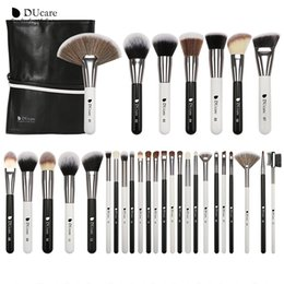 goat hair dhl Australia - Free DHL DUcare 31PCS Makeup Brushes with Bag Black White Natural goat hair Brush Foundation Powder Concealer Contour Eyes Blending Brush