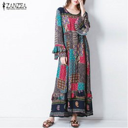 Discount cocktail animals - Women Geometric Printed Dress 2019 Zanzea Fashion Round Neck Long Flare Sleeve Cocktail Party Beach Long Dress Vestido P