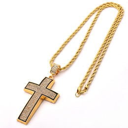 Black diamonds cross necklace online shopping - Cross Pendant Men s Black Side Pendant with Diamonds Hip hop Arc Simple Necklace Hot Selling In Europe and America