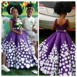 $enCountryForm.capitalKeyWord NZ - 2019 Modest Purple Flower Girl Dresses Hand Made Flowers Little Girl Wedding Dresses Vintage Plus Size Communion Pageant Dresses Gowns