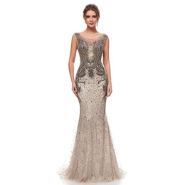 China 2019 NEW Great Gatsby Vintage Mocha Luxury Beaded Mermaid Evening Dresses Wear yousef aljasmi Sheer Neck Cap Sleeve arabic Prom Formal Gowns cheap arabic red carpet suppliers