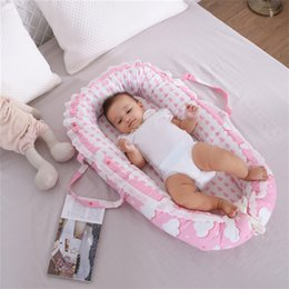 Girls Toddler Bedding Australia - 85X50cm Portable Baby Crib Infant Toddler Cradle Cot Newborn Nursery Travel Folding Baby Nest Girls Bed with Bumper