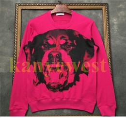 Rose pRinted sweatshiRt online shopping - 18ss Winter Europe Fashion Luxury Graffiti Print rose Rottweiler dog head Sweatshirt Casual Men Pullover Hoodies Streetwear Designer hoodies