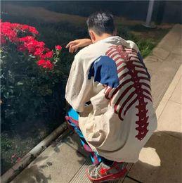 Wholesale ribbed t shirt for sale – custom Mens T Shirts Fashion FLA Kapital Style Loose Retro Bone Skeleton Rib Print High Street Short Sleeve Casual Shirts S M