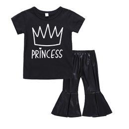 $enCountryForm.capitalKeyWord Australia - Kids designer clothes Black color short sleeve crown letter T-shirt + PU flared trousers 2pcs girls outfits children's flare bottoms suit