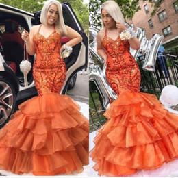Long evening pepLum dresses back drape online shopping - African Halter Prom Dresses Long Sequins Appliques Ruffles Mermaid Evening Gowns Tiered Ruffles Plus Size Party Dress
