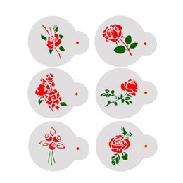 decorating coffee tools Australia - 6pcs Set Wedding Cake Stencils Rose Flowers Coffee Templates DIY Cake Fondant Sugarcraft Baking Decorating Tools