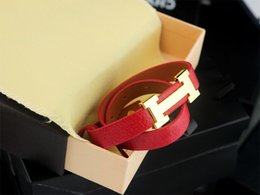 Imitation Red Coral Beads Australia - 2019 High Quality Celebrity design Letter bracelet Women Fashion Leather Clover Cuff Bracelets Jewelry Red With Box