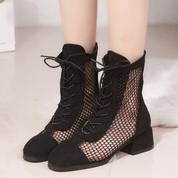 sexy mesh boots 2019 - Botas Mujer Women Sexy Square Head Low-Heeled Shoe Mesh Hollow Short Tube Cool Boots calzado mujer scarpe donna zapatos