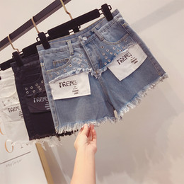 $enCountryForm.capitalKeyWord NZ - New Korean White Shorts for Summer 2019 Women's Fashion Letter Stitching High-waist Jeans Hot Pants Girls Students Ripped Jeans