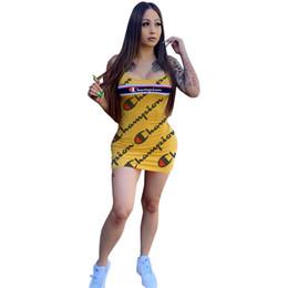 Low cut tank tops women online shopping - brand champion sleeveless tank top bodycon dress designer women summer dresses above knee low cut mini skirt luxury clubwear for womenC61903