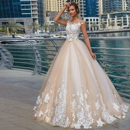 $enCountryForm.capitalKeyWord NZ - Vintage Champagne Ball Gown Wedding Dresses Jewel Neck Cap Sleeve 3D Flower Chapel Wedding Gown Tiered Tulle Sweep Train Robe De Mariee