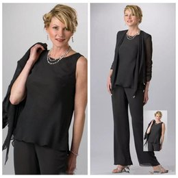 $enCountryForm.capitalKeyWord NZ - 2019 Vintage Custom Black Mother of the Groom Suits Jewel Neck Long Sleeve 3 Pieces Chiffon Casual Clothes for Ladies Cheap