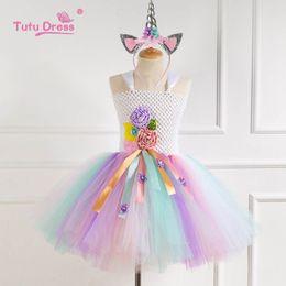 $enCountryForm.capitalKeyWord Australia - Unicorn girls dresses flower girl dresses for wedding beach Tutu kids dresses+ headband kids designer clothes girls princess dress A6292