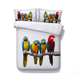 $enCountryForm.capitalKeyWord Australia - Parrots Duvet Cover Set 3 Piece Bedspread Set With 2 Pillow Shams Comforter Quilt Cover Zipper Pineapple Birds On Branches Bedding Kids Teen